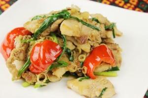 豚肉と野菜、ハーブ(レモングラス)を炒めた料理です。ちょっと辛いですがご飯によく合います。 カンボジアでよく食べられている料理。